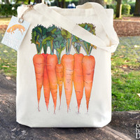 Carrots Fair Trade Tote Bag, Reusable Shopper Bag, Farmers Market Bag, Cotton Tote, Shopping Bag, Eco Tote Bag, Reusable Grocery Bag