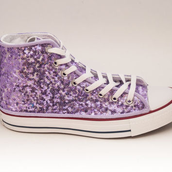 Sequin Lilac Purple Over White Converse Hi Top Canvas Sneaker Shoes
