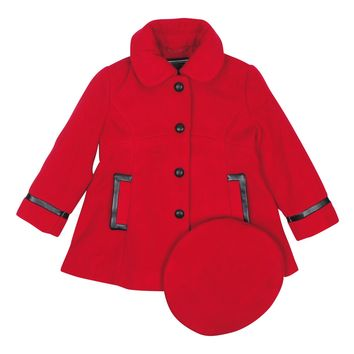 Rothschild Girls' Faux-Leather Trim with Bow Coat and Hat