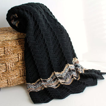 Afghan - Ripple Crochet Blanket -Black with Brown Multi Accent