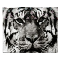 "Suzanne Carter ""Tiger Face"" Gray Animal Fleece Throw Blanket"