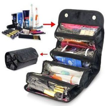 Multifunction Roll or Hang Compact Organizer Makeup Toiletry Travel Bag