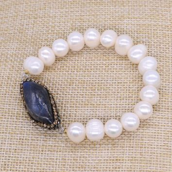 Natural pearl beads druzy bracelet bangle high quality blue stone crafted pearl  bracelets 1476