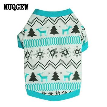 DCCKU7Q Christmas Pet Dog Clothes Printed Snow Dog Outer wears winter Dog Clothes Sweatshirts products for dogs roupas para cachorro