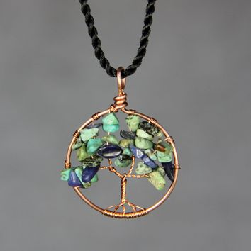 Copper Turquoise Lapis tree of life pendant necklace bridesmaids gifts Free US Shipping handmade Anni Designs