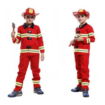 Kids Firefighter Uniform Boys Fireman Costume Fireman Suit Performance Kids Halloween Fire Clothing Cosplay Costume For Boy