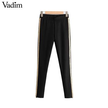 Women vintage sequined striped skinny pants elastic waist female casual ankle length trousers