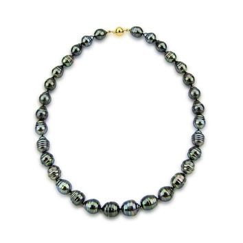 """14k Yellow Gold Clasp 10-13mm Baroque Tahiti Cultured Pearl Necklace - AAA Quality, 17"""" Princess Length"""