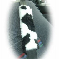 Fuzzy faux fur furry Black and white Cow print car seatbelt pads 1 pair
