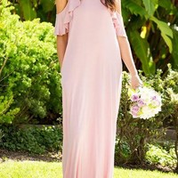 Cold Shoulder Ruffle Maxi