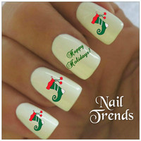 Christmas Nail Decal 20 Stocking Vinyl Stickers  Nail Art