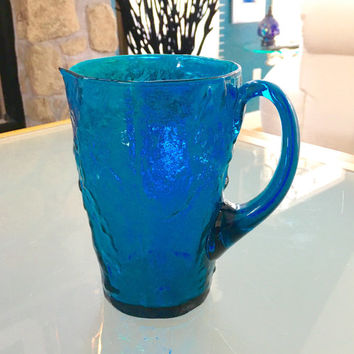 Vintage Blue Glass Pitcher, Turquoise Glass, Water Pitcher, Peacock Wedding Gift, Juice Lemonade Pitcher
