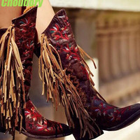 Free Style Red Embroidery Flowers Women Fringe Boots Dark Brown Leather Point Toe Cowboy Boots Ladies Fashion Knee High Boots