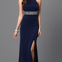 Navy Blue Backless Long Dress by Sequin hearts