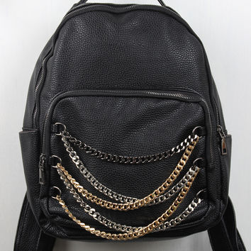 Vegan Leather Chain Gang Backpack