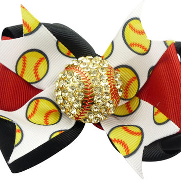 Softball Bling Hair Bow in Red & Black Rhinestone Embellishment for Girls