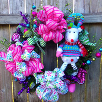 Christmas Lollypop Reindeer Holiday Wreath Striped Hot Pink Ribbon