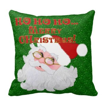 Merry Christmas Santa Face-Square Pillow