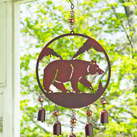 Rustic Woodland Bear Wind Chimes Bells Outdoor Wildlife Yard Garden Home Decor