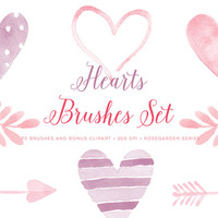Watercolor Valentine Photoshop Brushes Love hearts images. Graphics for cards, invitations, scrapbooking, printable. Watercolour clip art