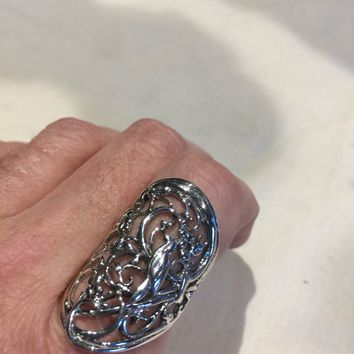 Vintage 1970's 925 Sterling Silver Gothic Bird Ring