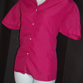 1970s Magenta Shirt by Joanna / Womens Size 12 / Short Sleeve / Button Down / Faux Pearl Buttons