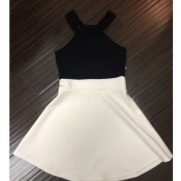 CHERYL KIDS Black and Cream Racer Dress - Tweens & Juniors