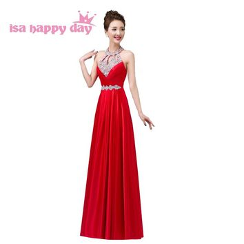 bridemaid long red dress bridesmaid modest brides maid halter sequined sequin pageant dresses for adult under $50 2018 H3625