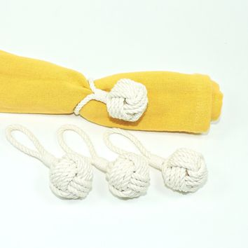 Monkey Fist Knot Napkin Rings, Set of Four