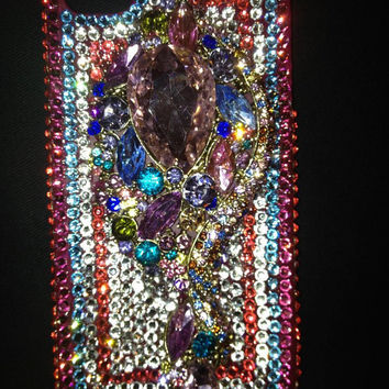 "iPhone Swarovski Cell Phone Case for 4 or 4S Phones ""Blinged Out"""