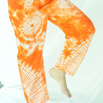 Orange dye funky freedom  reggae 80s style harem boho behemian  women long yoga trousers pants one size fits all/elastic waist