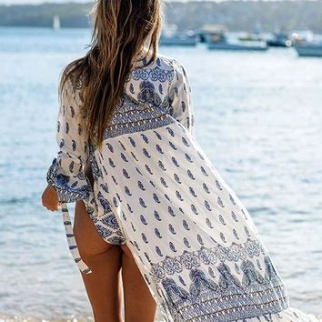 Boho Print A Line Cover Up Beach Dress
