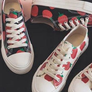 Retro Style Strawberry Sneakers - 2 Colors