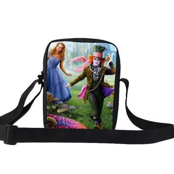 Alice in Wonderland Shoulder Bag 2015 Hot Sales Bag Kids Alice in Wonderland Mad Hatter Children's Bags for Girls & Boys Gifts