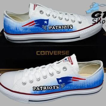 hand painted converse lo new england patriots football sports handpainted shoes o