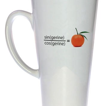 Trigonometry Tangerine Funny Coffee or Tea Mug, Latte Size