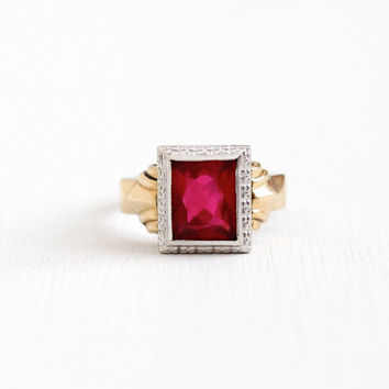 Antique Art Deco 10k White & Yellow Gold Simulated Ruby Ring - Vintage 1930s Large Red Glass Stone July Mens Statement Fine Filigree Jewelry