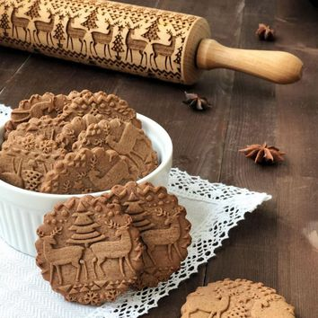 Hot Christmas Reindeer Embossing Rolling Pin Baking Cookies Noodle Biscuit Fondant Cake Dough Engraved Roller 43X5cm/38X5cm