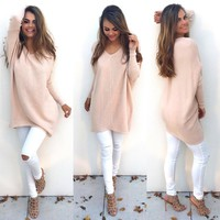 Casual Pink Loose Long-Sleeved Sweater Shirt