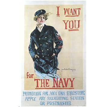 "VINTAGE ""I WANT YOU FOR THE NAVY"" RECRUITING poster woman in pea coat  24X36"