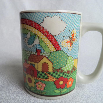 Cute patchwork nature scene mug/ vintage mug with rainbows butterflies flowers house and hills/ hippie coffee mug/ 70s/ 80s style Otagiri
