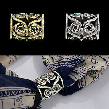 Women Buckle Pins Retro Owl Brooch Pin Scarf Clips Pins Chic Scarf Buckle Pin HU