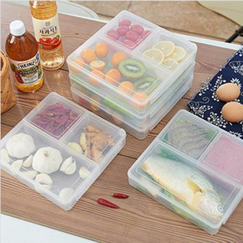 Keythemelife 3 Grid Transparent Lunch Boxs Portable Big Food Container bento fruit Snack Bento Microwave Lunchbox D6