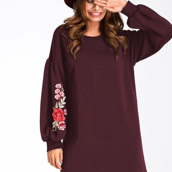 Burgundy Embroidery Floral Puff Sleeve Mini Dress