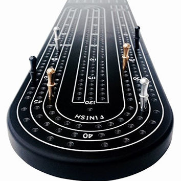 Quality Black Cribbage Board by Gapple Durable Aluminum Material Precise Engraving Gorgeous Anodized Finish Color Variety Metal Scoring Pegs and Convenient Peg Storage '
