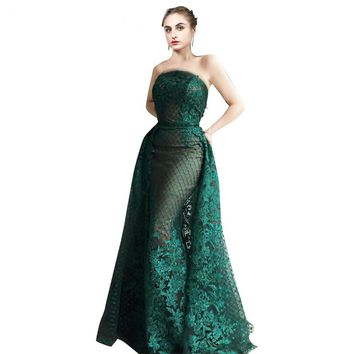 Mother Style Evening Dress Green Lace Long Sleeve Special Occasion Gown Detachable Train