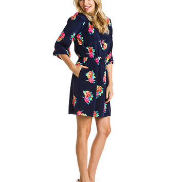 Some of you have to get in on this: Shoshanna Navy Floral Print Silk Dress