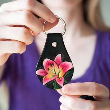 Oriental Lily Key Fob ~ Hand Tooled Veg Tanned Leather ~ Keychain
