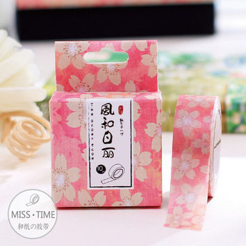 JD311 10 Meter Sweet Pink Flowers Washi Tape Adhesive Tape DIY Scrapbooking Sticker Label Masking Tape