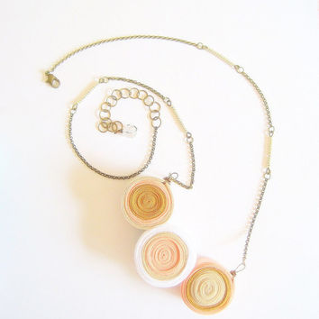 Geometric Spheres Sand Dune Layers Necklace by VintageOoakDesigns